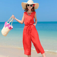 Women's Stringe Belted Tunic Pure Colors Loose Wide Legs Tank Jumpsuits Rompers