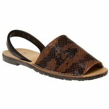 New WOMENS SOLE BROWN TOUCAN LEATHER SANDALS ANIMAL