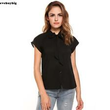 Women Casual Short Sleeve Bow Tie Neck Cap Sleeve Solid Loose Chiffon E45B