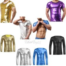 Mens Faux Leather Muscle T-shirt WetLook Long Sleeves Clubwear Undershirt Tops