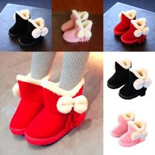 Kids Girls Toddlers Bowknot Warm Snow Ankle Boots Fur Tassels Boots Shoes Size