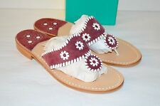New $118 Jack Rogers Navajo Hamptons Red/White Suede Sandal Classic RARE COLOR