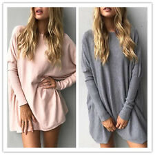 Women Solid Round Neck Long Batwing Sleeves Loose Long Casual Shirt Blouses Tops
