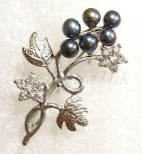 fashion1uk Mothers Gif 18KGP Freshwater Pearl Berry Brooch Pin Black Pink White