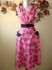 Bettie Page Housewife 50's Atomic Pink Pockets 60's Tank Swing Dress USA 14