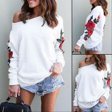 Women Floral Print Boat Neck Long Sleeve Loose Thic Tops Undershirts Blouses