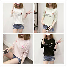 Women's Letter Print Round Neck Long Sleeve Casual Top T-shirt Jumper Pullover
