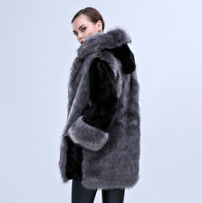 New Winter Women Faux Fur Warm Jacket With Hat Outwear Thick Windproof Top Coat