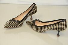 NEW Manolo Blahnik Black Beige HOUNDSTOOTH tweed Brown Kitten Heels Shoes 40.5