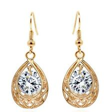 Royal Kate Inspired Antique Vintage Gold Plated Hollow Water Drop Earrings wi...
