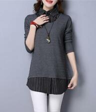 Women Stripe Spliced Pointed Collar Long Sleeves Slim Fit Blouses Faux Twinset