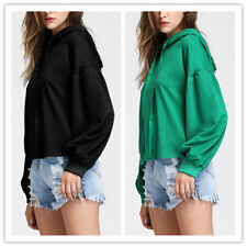 Women Solid Round Neck Hooded Long Ruffled Lantern Sleeves Loose Crop Top Blouse