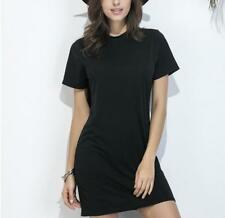 Women Casual Solid Crew Neck Short Sleeves Backless Hollow Out Loose Mini Dress