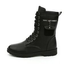 Men Pu Leather Side Zip Punk Martin Boots Military Combat Motorcycle Rock Shoes