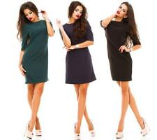 Women Solid Crew Neck Short Sleeves Back Button Down Slim Fit Sexy Mini Dress