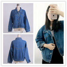 Women Denim Washed Pointed Collar Long Sleeve Button Down Loose Jean Jacket Coat