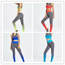 Women Contrast Color Stretchy Fitness Yoga Running Sports Tank Top+Pants Twinset