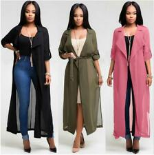 Women Solid Chiffon Cowl Neck Long Sleeves Tie Waist Front Open Long Cardigan