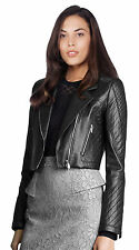 Women's Leather Motorcycle Jacket Genuine lambskin women black biker coat # 207