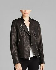 Women's Leather Motorcycle Jacket Genuine lambskin women black biker coat # 238