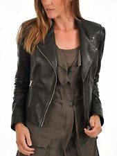 Women's Leather Motorcycle Jacket Genuine lambskin women black biker coat # 189