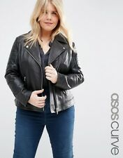 Women's Leather Jacket Plus Size black 100% lambskin Biker Motorcycle coat # 005