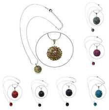 New Shamballa Necklace Pendant Crystal Clay Sparkling Disco Ball Necklace 18mm