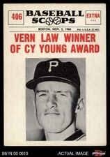1961 Nu-Card Scoops #406  Vern Law  - Vern Law Winner of Cy Young  Pirates VG/EX