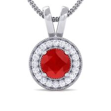 Red Ruby IJ SI Diamond Round Halo Gemstone Pendant Women 14K Solid Gold