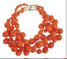 KENNETH JAY LANE-3 STRAND BEADS CLUSTER DROPS NECKLACE-CORAL (ORANGE)