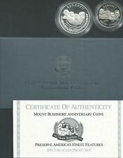 1991 MOUNT RUSHMORE COMMEMORATIVE TWO-COIN PROOF SET. NICE ! SAN FRANCISCO MINT!