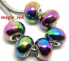 Fashion Multicolored Plating AB Lampwork Glass European Beads fit Charm Bracelet