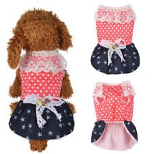 Pet Clothes Cute Polka Dot Star Lace Faux Pearl Bow Fleece Lining Dog Dress Good