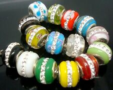 Fashion mixed colors Rhinestone Lampwork Glass European Beads fit Charm Bracelet
