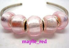Fashion Pure Foil Pink European Style Lampwork Glass Beads fit Charm Bracelet