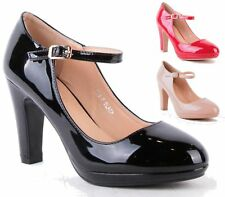 NEW WOMENS LADIES HIGH BLOCK HEEL PLATFORM BUCKLE PUMPS PATENT COURT SHOES SIZE