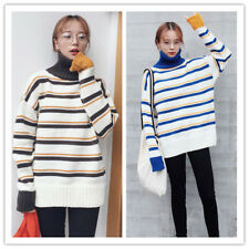 Women's Turtle Neck Long Sleeve Preppy Style Striped Knit Sweater Top Pullover