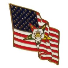 American Flag & Order of the Eastern Star Symbol Gold Plated One Inch Lapel Pin