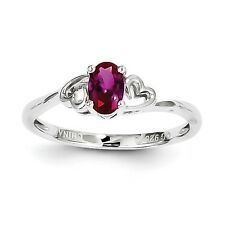 Sterling Silver Rhodium Plated July Birthstone Created Ruby Heart Ring Sz 5 - 10