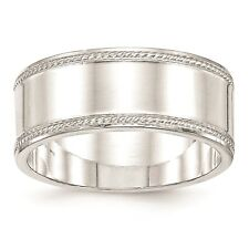 925 Sterling Silver Polished Edged Design 9.5mm Wedding Ring Band Size 4 - 12