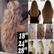 """Real Classy Clip In Hair Extensions Long Straight Wavy 17-30"""" One Piece New TM8"""