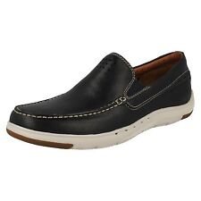 MENS CLARKS UNSTRUCTURED LEATHER CASUAL SLIP ON LOAFERS SHOES UNMASLOW EASY