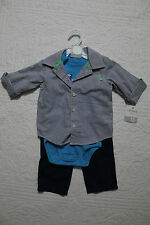 NEW CARTERS BOYS 3 PIECE OUTFIT SET BUTTON UP SHIRT BODYSUIT PANTS
