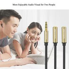 3.5mm Jack Audio Splitter Cable Earphone Headphone Adapter 1 Male To 2 Female