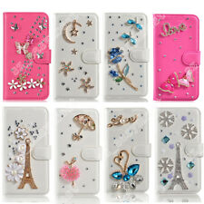 Flip Wallet Card Case Cover Bling Diamond Pearls Crystal Leather For Cell Phone