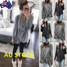 Women Cowl Neck Long Sleeve Jumper Pullover Knitted Sweater Casual Irregular Top