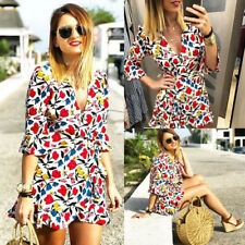 Women Floral Flared Wrap Casual Club Party Beach Jumpsuit Playsuit Romper Dress