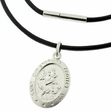 BLACK Leather Necklace PERSONALISED 925 Silver St Christopher - Travel Safe Gift