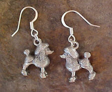 Pewter POODLE DOG Charm Earrings Your Choice Gold or Silver