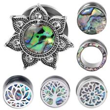 Ear Gauge Plugs Flesh Tunnels Stainless Steel Abalone Shell Ear Stretching kits